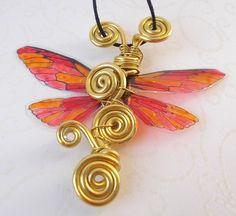 Gold Roter Frühlings Schmetterlingsflügel Anhänger-FeenglitzerNickelfrei NEU