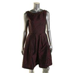 Tahari ASL Womens Metallic Sleeveless Wear to Work Dress