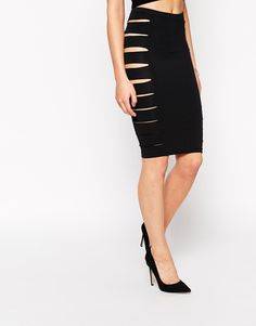 Image 4 ofASOS Pencil Skirt With Sexy Side Splits