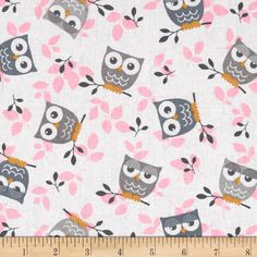 Tossed Owls White/Gray/Pink from @fabricdotcom  This cotton print is perfect for quilting, apparel and home decor accents.  Colors include white, gold, pink and shades of grey.