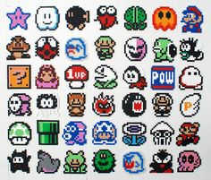 Here's a bunch of 8 BIT bead sprites from our favorite Mario games Melty Bead Patterns, Pearler Bead Patterns, Perler Patterns, Beading Patterns, Perler Beads, Perler Bead Mario, Perler Bead Designs, Perler Bead Templates, Pixel Anime