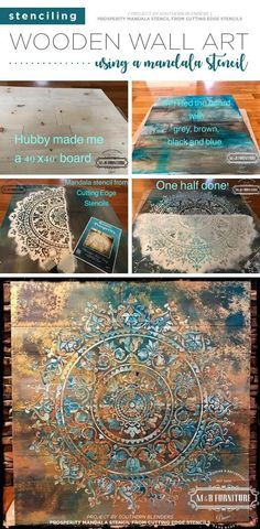 Learn how to stencil wooden wall art using the Prosperity Mandala Stencil from Cutting Edge Stencils #stencils #diy #mandala #art #stenciled #crafts