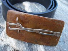 Welded Steel Barbed Wire Belt Buckle  by WildHorseSteelworks,