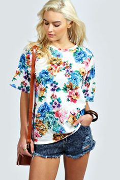 d14729e9ecb7 Penny All Over Floral Oversized Tee at boohoo.com Line Shopping