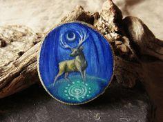 Ritual place - deer brooch OR pendant - Hand painted on wood - ooak by SecretaShop on Etsy https://www.etsy.com/listing/281572324/ritual-place-deer-brooch-or-pendant-hand