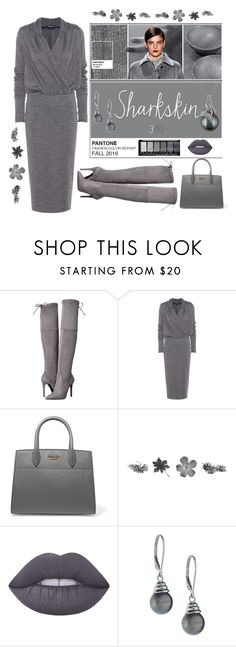 """""""Pantone Sharkskin 2016"""" by stephanielee4 ❤ liked on Polyvore featuring GUESS, Tom Ford, Prada, Lime Crime and Belpearl"""