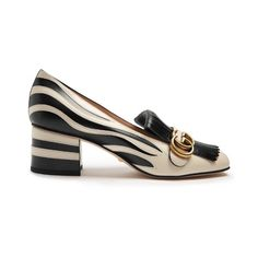 Gucci Marmont fringed zebra-appliqué leather loafers (2.925 BRL) ❤ liked on Polyvore featuring shoes, loafers, black white, gucci, black and white loafers, gucci loafers, loafers moccasins and gucci shoes