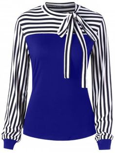 48d8bef775904 casual fashion Women-Striped-Bow-Tie-Neck-Long-Sleeve-Blouse-Tops-Tee -Formal-Lady-Casual-Shirt    Check this amazing product by going to the  link at the ...