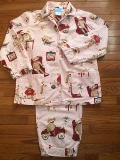 WOMENS medium NICK & NORA 2pc SOCK MONKEY pajamas PJs SLEEPWEAR flannel CUTE!