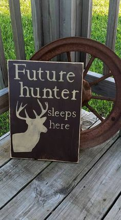Future Hunter Sleeps Here - Wood Sign - Nursery Room Hunting Decor - Baby Deer Wall Hanging - Hunting Wooden Sign - Wall Decor - Custom - pinned by pin4etsy.com
