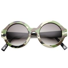 Retro Round Thick Frame Camouflage Sunglasses 9911