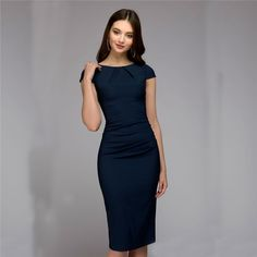 Cheap Dresses, Buy Directly from China Spring Summer dress Women Dot Print Slim dress Short Sleeve Office Business Dress Elegant Sheath Party Vestidos Business Dresses, Business Attire, Business Fashion, Office Fashion, Summer Dresses For Women, Dresses For Work, Office Dresses For Women, Dresses Elegant, Casual Dresses