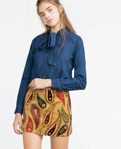 Autumn Fashion Winter Blue Denim Bow Tie Collar Long Sleeve Women Trendy Blouse - The Accessory Nook  - 1
