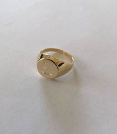 Engraved ring Personalized Ring Signet Ring women by Limajewelry Dad Rings, Rings For Men, Mens Pinky Ring, Pinky Rings, Rings N Things, Egyptian Jewelry, Personalized Rings, Gold Letters, Engraved Rings