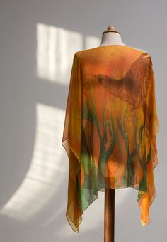 Hand Painted Natural Silk Blouse Tunic Yellow by AijaSilkPainting, $140.00