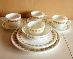Vintage Pyrex Dinnerware Set Golden Butterfly Corelle by Corning Dinnerware Set - My mom has these.