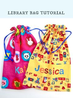 Bloom: Library bag tutorial with great instructions for computer formating the letters for the name!!! :-)