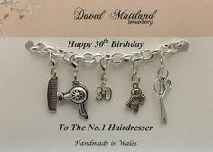 Happy 30th Birthday to the No.1 Hairdresser Lucky Charm Bracelet by DMaitlandJewellery on Etsy