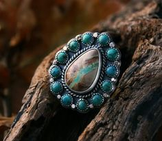 Your Soul's Flower - Turquoise Sterling Silver Cluster Ring