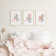 Bedroom Decor For Couples, Room Decor Bedroom, Pink Wall Art, Baby Room Wall Art, Living Room Prints, Pink Walls, Diy Wall Decor, Decoration, Interior Design Living Room