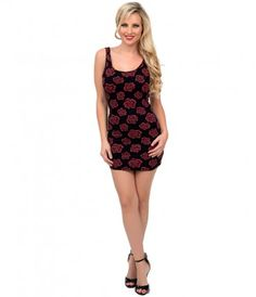 Throw a rose to your wardrobe, dear! A sleek tank dress in an alluring black and red rose print throughout, boasting a b...Price - $44.00-tmTFtpdx