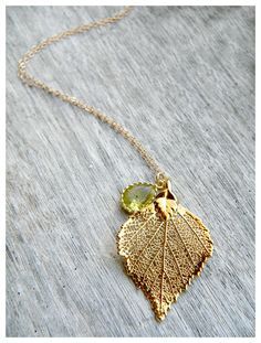 Real Gold Dipped Birch Leaf Necklace with Peridot Pendant