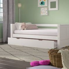 Mack & Milo Burkley Twin Panel Bed with Trundle Colour: White Platform Bed With Drawers, Bunk Beds With Drawers, Twin Platform Bed, Bunk Bed With Trundle, Full Bunk Beds, Kids Bunk Beds, Toddler Trundle Bed, Low Loft Beds, Bed Shelves