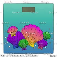 Caribbean Sea Shells with Bubbles Bathroom Scale