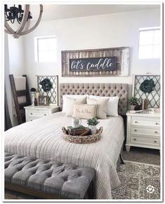 Are you searching for images for farmhouse bedroom? Browse around this website for amazing farmhouse bedroom pictures. This cool farmhouse bedroom ideas will look excellent. Small Master Bedroom, Farmhouse Master Bedroom, Master Bedroom Design, Master Suite, Bedroom Designs, Stylish Bedroom, Cozy Bedroom, Modern Bedroom, Cozy Master Bedroom Ideas