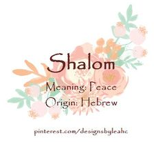Baby Girl Name: Shalom. Meaning: Peace. Origin: Hebrew.