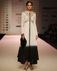 White and Black ombre Dress with Stylized Bodice - Kavita Bhartia - Amazon India Fashion Week SS '16 - Off The Runway