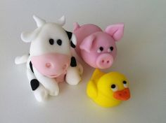 Edible farm setfondant pig cow and duck by liisflorides on Etsy