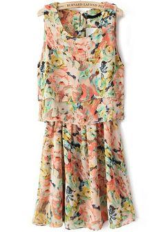 Orange Sleeveless Floral Pleated Chiffon Dress 22.33