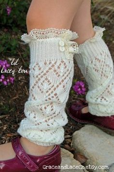 Lil Lacey Lou Off-white Girls Open-knit Leg Warmers | Graceandlaceco On Etsy