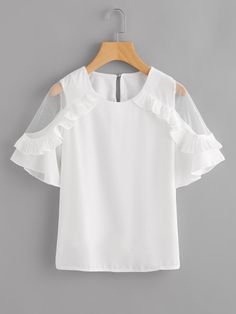 Dotfashion Sheer Insert Frill Trim Blouse 2018 New Fashion White Round Neck Short Sleeve Women Top Summer Casual Blouse Look Fashion, New Fashion, Girl Fashion, Fashion Outfits, Fashion Design, Mode Top, Shirt Blouses, Shirts, Fitness Workouts