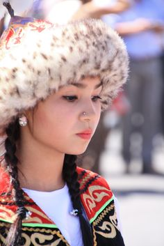 A young Kazakh girl in naitional dress.