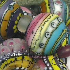 """Click on this to see all pics, worth it!    ANASTASIA--lampwork beads--(9)--""""MORNING LIGHT""""--SRA"""