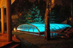 ELEGANT bazénové zastřešení pod rouškou večera