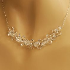 Clear Crystal  Bridal Wedding Necklace - Bride, Wedding Jewelry - Swarovski Crystal in Sterling Silver  - The Long Ice Branch Necklace. $70.50, via Etsy.