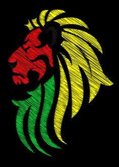 'Lion Reggae Colors Cool Flag Vector' by Denis Marsili on artflakes.com as poster or art print $17.33