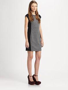 contrast cap-sleeve dress - derek lam