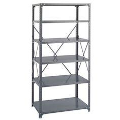 "COSTCO -- deep 24"" shelves.  5 shelves shown in addition to top.  Safco 6-Shelf Shelving Rack | 36"" x 24"" x 75"" | Dark Gray"