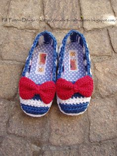 DIY  ::  Crocheting: SAILOR SHOES with RED BOW pattern