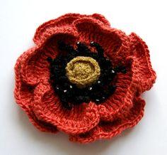 crochet flower  brick red  POPPY  perfect for spring/summer / made to order. $15.00, via Etsy.