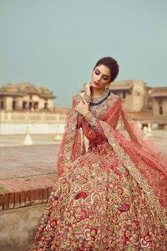 Silk Organza with zardozi embroidery Coral Red Wedding Lehenga – Panache Haute Couture Pakistani Wedding Outfits, Pakistani Bridal Dresses, Bridal Outfits, Indian Dresses, Indian Outfits, Pakistani Couture, Bridal Lehenga Collection, Walima Dress, Bridal Dress Design