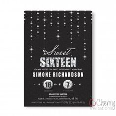 Elegant Sweet 16 Glitter & Diamonds Themed Single Sided Personalised Birthday Invitations - From as little as per card - Including free envelopes and delivery on all orders! Diamond Glitter, Personalized Invitations, All That Glitters, Sweet 16, Envelopes, Birthday Invitations, Diamonds, Delivery, Elegant