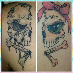 Couples tattoo, I love you Mr. Skull Couple Tattoo, Couple Tattoos Love, Family Tattoos, Couple Tattoos Unique Meaningful, Unique Tattoos, Time Tattoos, Body Art Tattoos, Koch Tattoo, Mexican Skull Tattoos