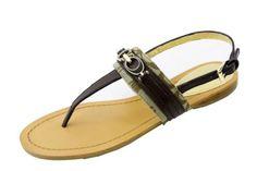 COACH Sammy Signature C Logo Chestnut/Khaki New Leather Thong Sandal Shoe size 8