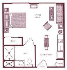 studio blueprints | studio apartment floor plan: unit a studio