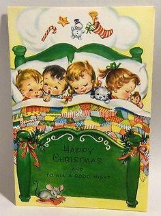 UNUSED Darling Children Sleeping Dreaming 1950s Vintage Christmas Greeting Card
